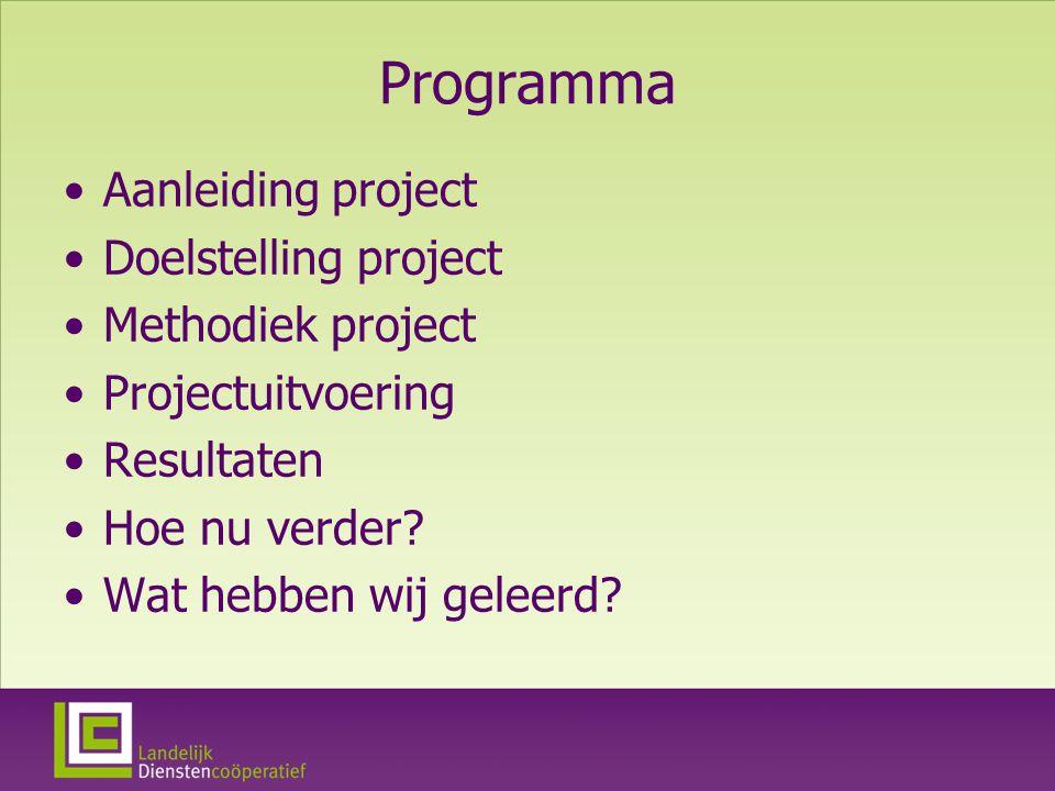 Programma Aanleiding project Doelstelling project Methodiek project Projectuitvoering Resultaten Hoe nu verder.