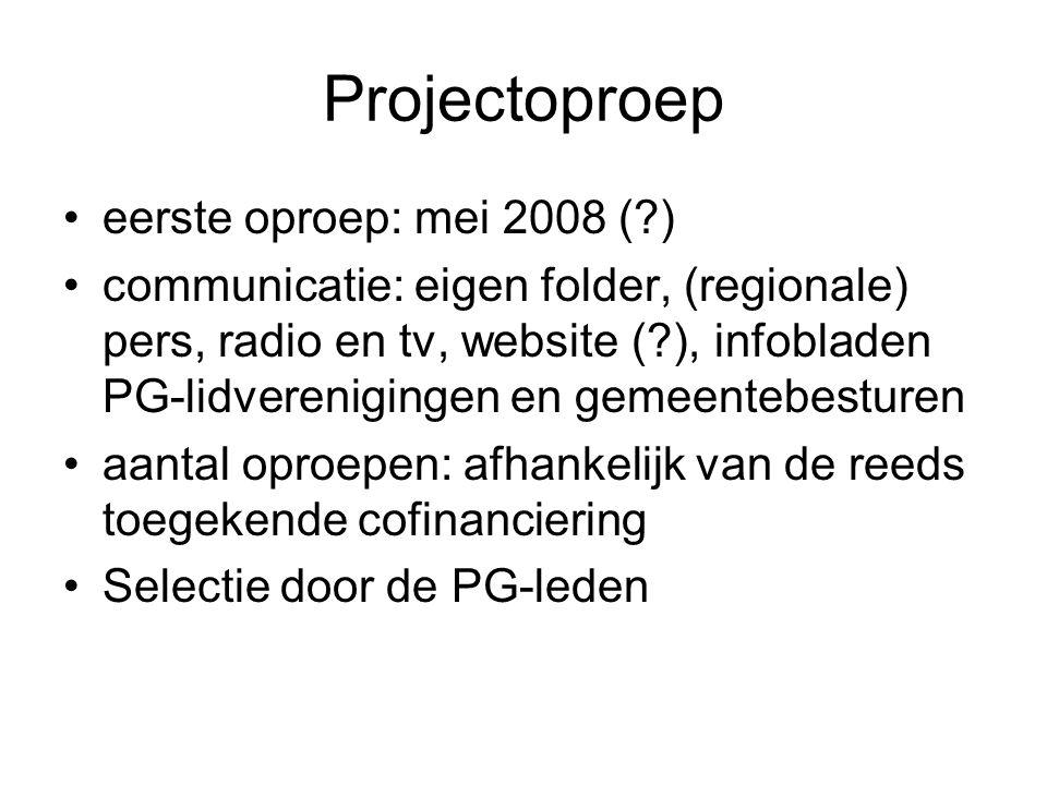 Projectoproep eerste oproep: mei 2008 (?) communicatie: eigen folder, (regionale) pers, radio en tv, website (?), infobladen PG-lidverenigingen en gem