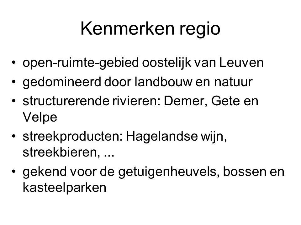 Kenmerken regio open-ruimte-gebied oostelijk van Leuven gedomineerd door landbouw en natuur structurerende rivieren: Demer, Gete en Velpe streekproduc