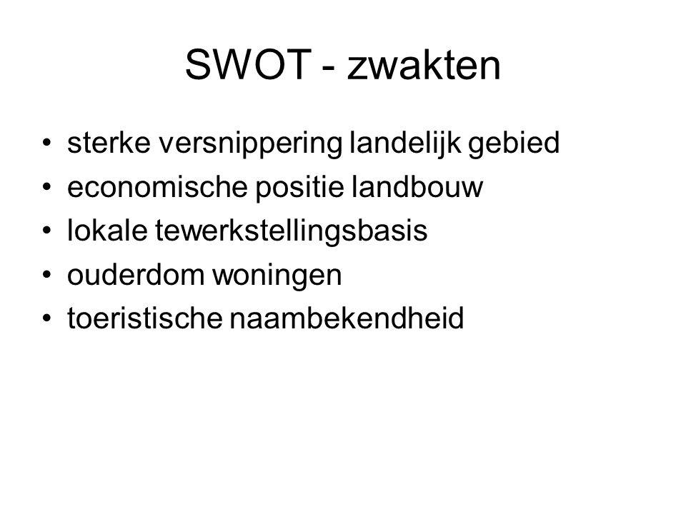 SWOT - zwakten sterke versnippering landelijk gebied economische positie landbouw lokale tewerkstellingsbasis ouderdom woningen toeristische naambeken