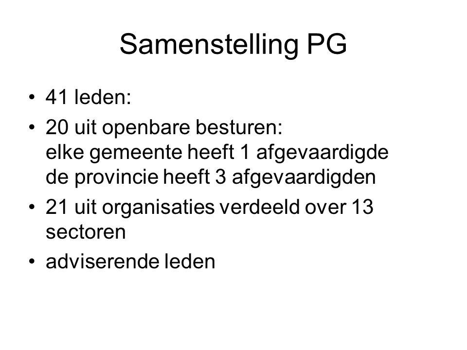 Samenstelling PG 41 leden: 20 uit openbare besturen: elke gemeente heeft 1 afgevaardigde de provincie heeft 3 afgevaardigden 21 uit organisaties verde