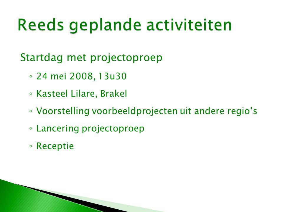 Startdag met projectoproep ◦ 24 mei 2008, 13u30 ◦ Kasteel Lilare, Brakel ◦ Voorstelling voorbeeldprojecten uit andere regio's ◦ Lancering projectoproep ◦ Receptie