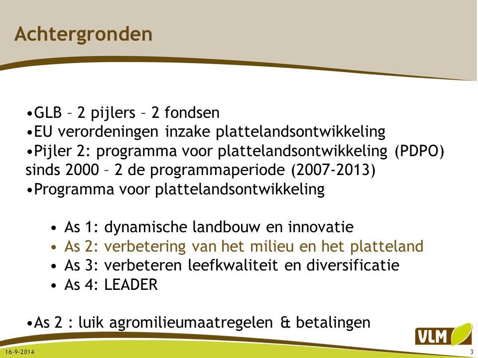 Achtergronden 16-9-20143 GLB – 2 pijlers – 2 fondsen EU verordeningen inzake plattelandsontwikkeling Pijler 2: programma voor plattelandsontwikkeling