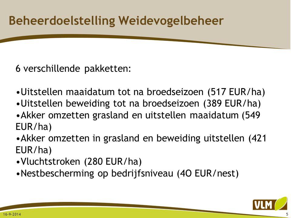 Beheerdoelstelling Weidevogelbeheer 16-9-20145 6 verschillende pakketten: Uitstellen maaidatum tot na broedseizoen (517 EUR/ha) Uitstellen beweiding t