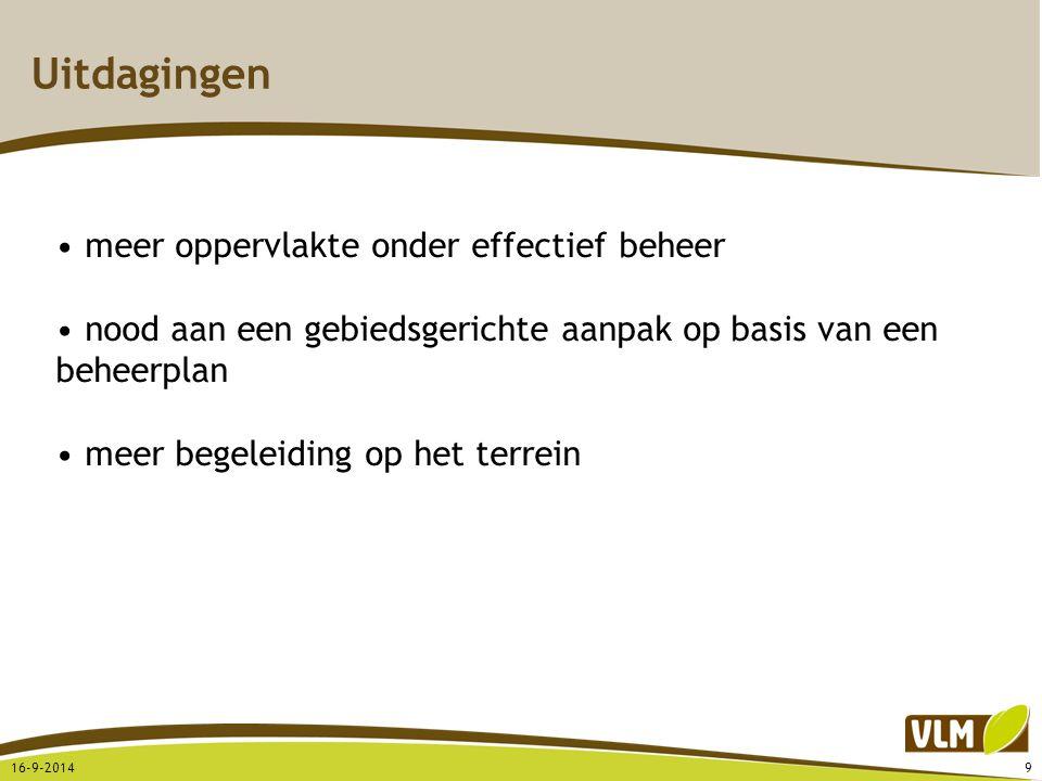 Uitdagingen 16-9-20149 meer oppervlakte onder effectief beheer nood aan een gebiedsgerichte aanpak op basis van een beheerplan meer begeleiding op het