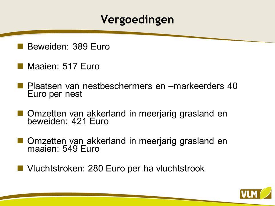 Vergoedingen Beweiden: 389 Euro Maaien: 517 Euro Plaatsen van nestbeschermers en –markeerders 40 Euro per nest Omzetten van akkerland in meerjarig gra