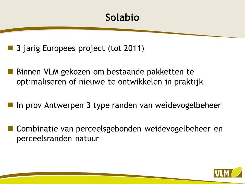 Solabio 3 jarig Europees project (tot 2011) Binnen VLM gekozen om bestaande pakketten te optimaliseren of nieuwe te ontwikkelen in praktijk In prov An