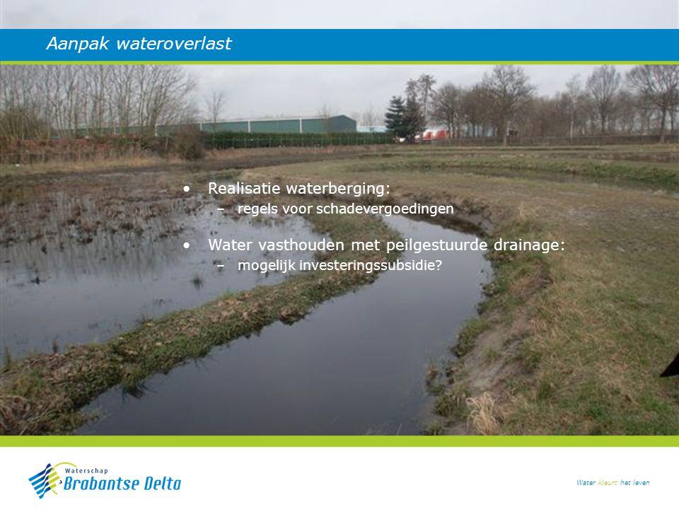 Water kleurt het leven Aanpak wateroverlast Realisatie waterberging: –regels voor schadevergoedingen Water vasthouden met peilgestuurde drainage: –mogelijk investeringssubsidie?