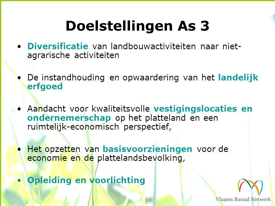 Doelstellingen As 3 Diversificatie van landbouwactiviteiten naar niet- agrarische activiteiten De instandhouding en opwaardering van het landelijk erf