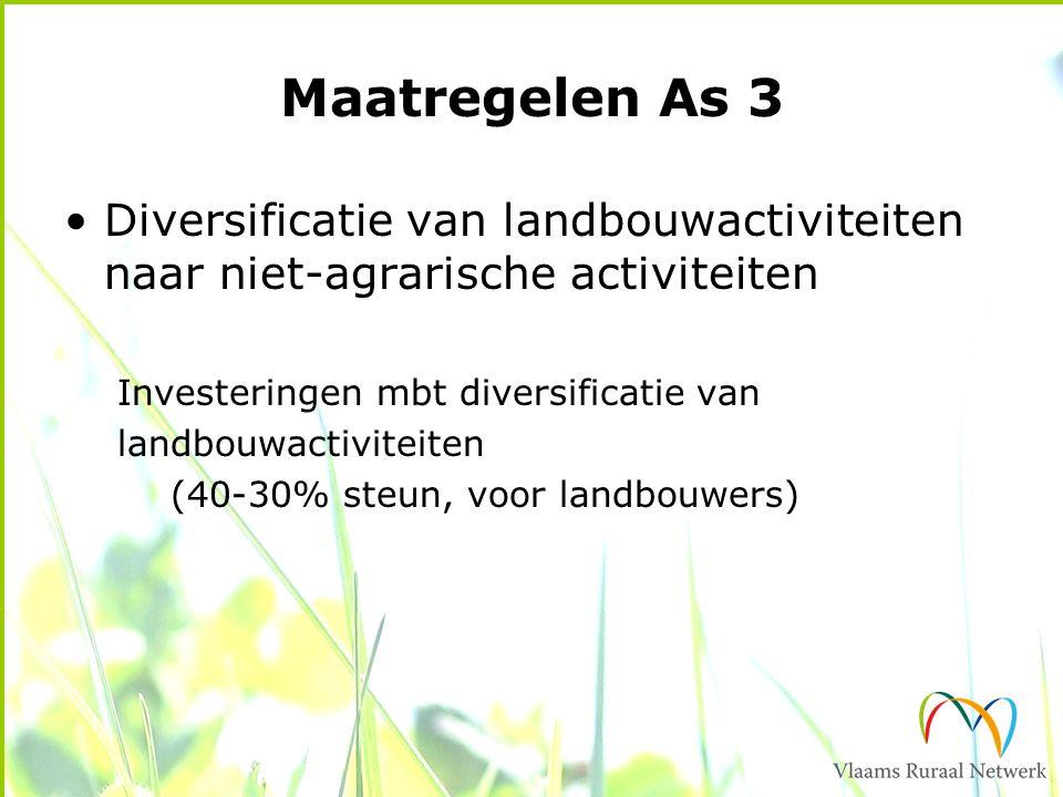 Maatregelen As 3 Diversificatie van landbouwactiviteiten naar niet-agrarische activiteiten Investeringen mbt diversificatie van landbouwactiviteiten (40-30% steun, voor landbouwers)
