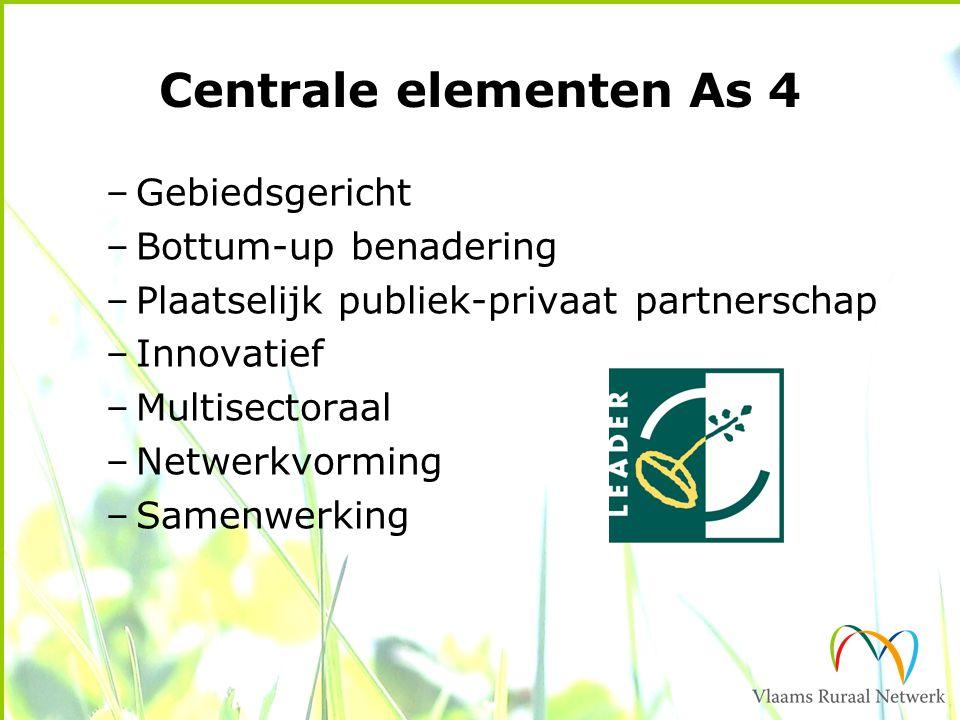 Centrale elementen As 4 –Gebiedsgericht –Bottum-up benadering –Plaatselijk publiek-privaat partnerschap –Innovatief –Multisectoraal –Netwerkvorming –Samenwerking