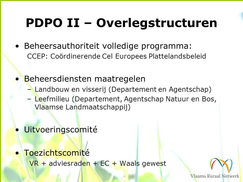 PDPO II – Overlegstructuren Beheersauthoriteit volledige programma: CCEP: Coördinerende Cel Europees Plattelandsbeleid Beheersdiensten maatregelen –Landbouw en visserij (Departement en Agentschap) –Leefmilieu (Departement, Agentschap Natuur en Bos, Vlaamse Landmaatschappij) Uitvoeringscomité Toezichtscomité VR + adviesraden + EC + Waals gewest