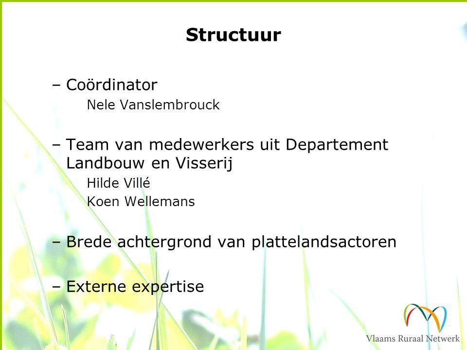 Structuur –Coördinator Nele Vanslembrouck –Team van medewerkers uit Departement Landbouw en Visserij Hilde Villé Koen Wellemans –Brede achtergrond van plattelandsactoren –Externe expertise