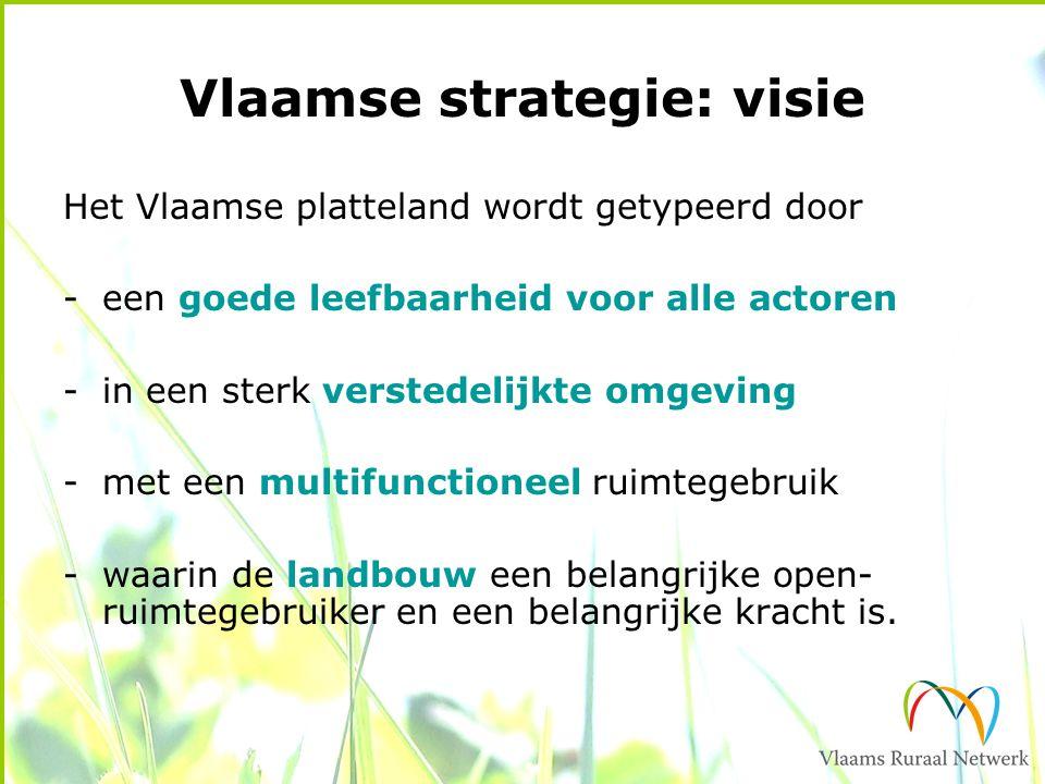 Vlaamse strategie: visie Het Vlaamse platteland wordt getypeerd door -een goede leefbaarheid voor alle actoren -in een sterk verstedelijkte omgeving -met een multifunctioneel ruimtegebruik -waarin de landbouw een belangrijke open- ruimtegebruiker en een belangrijke kracht is.