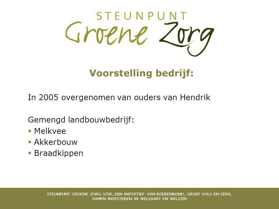 Voorstelling bedrijf: In 2005 overgenomen van ouders van Hendrik Gemengd landbouwbedrijf:  Melkvee  Akkerbouw  Braadkippen STEUNPUNT GROENE ZORG VZ
