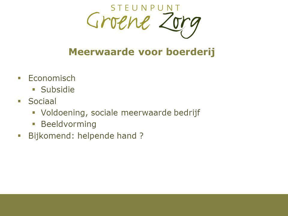 Meerwaarde voor boerderij  Economisch  Subsidie  Sociaal  Voldoening, sociale meerwaarde bedrijf  Beeldvorming  Bijkomend: helpende hand ?