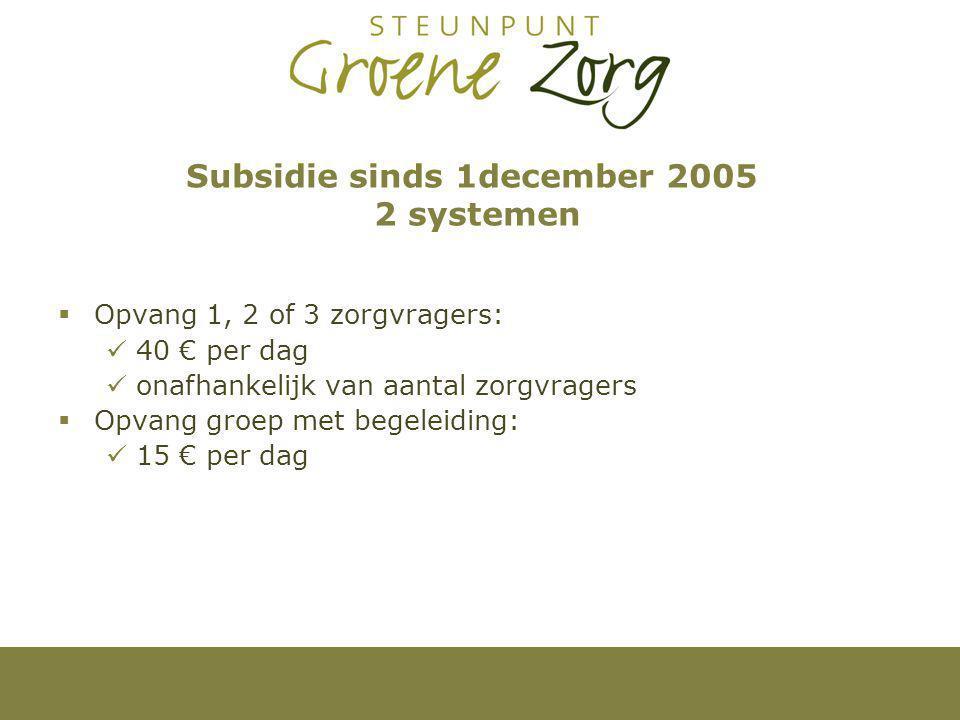 Subsidie sinds 1december 2005 2 systemen  Opvang 1, 2 of 3 zorgvragers: 40 € per dag onafhankelijk van aantal zorgvragers  Opvang groep met begeleiding: 15 € per dag