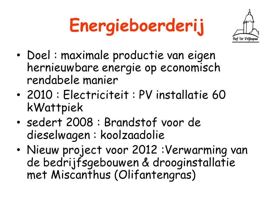 Energieboerderij Doel : maximale productie van eigen hernieuwbare energie op economisch rendabele manier 2010 : Electriciteit : PV installatie 60 kWat
