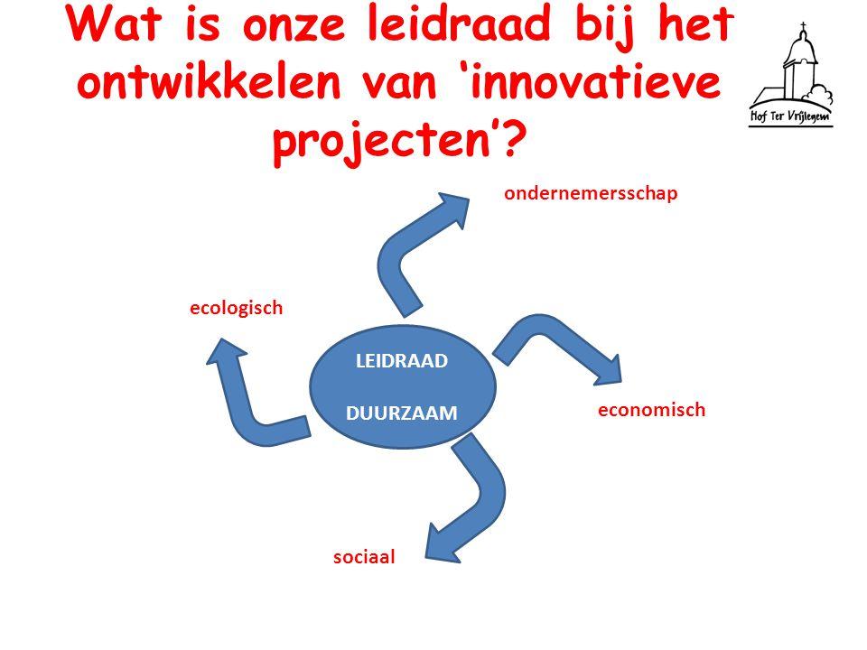 Wat is onze leidraad bij het ontwikkelen van 'innovatieve projecten'? LEIDRAAD DUURZAAM economisch sociaal ecologisch ondernemersschap