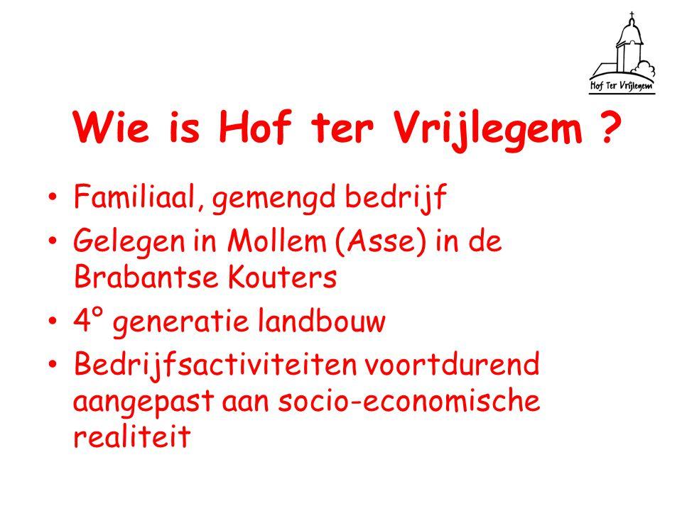 Wie is Hof ter Vrijlegem ? Familiaal, gemengd bedrijf Gelegen in Mollem (Asse) in de Brabantse Kouters 4° generatie landbouw Bedrijfsactiviteiten voor