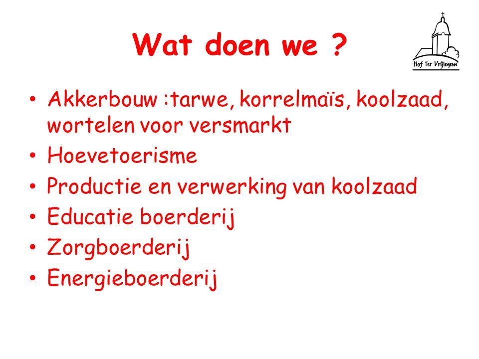 Wat doen we ? Akkerbouw :tarwe, korrelmaïs, koolzaad, wortelen voor versmarkt Hoevetoerisme Productie en verwerking van koolzaad Educatie boerderij Zo