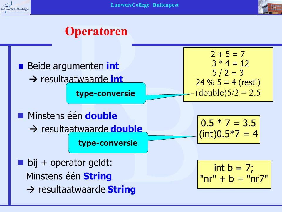 LauwersCollege Buitenpost Operatoren Beide argumenten int  resultaatwaarde int 2 + 5 = 7 3 * 4 = 12 5 / 2 = 3 24 % 5 = 4 (rest!) (double)5/2 = 2.5 0.5 * 7 = 3.5 (int)0.5*7 = 4 nMinstens één double  resultaatwaarde double int b = 7; nr + b = nr7 nbij + operator geldt: Minstens één String  resultaatwaarde String type-conversie