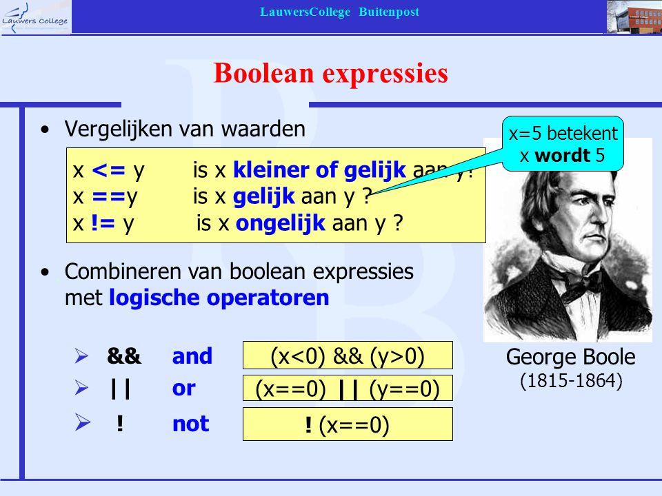 LauwersCollege Buitenpost Boolean expressies Vergelijken van waarden Combineren van boolean expressies met logische operatoren  &&and  ||or  !not x <= y is x kleiner of gelijk aan y.