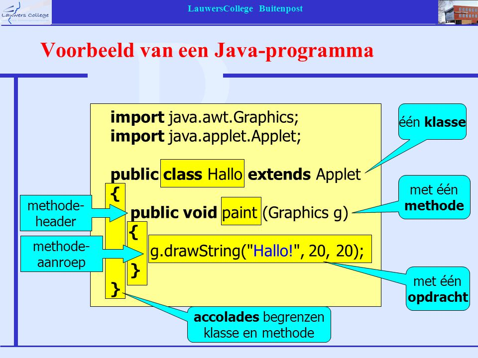 LauwersCollege Buitenpost Klasse- en methode-header public: mag door andere applets worden gebruikt naam Hallo: zelfbedacht import java.awt.Graphics; import java.applet.Applet; public class Hallo extends Applet { public void paint (Graphics g) { g.drawString( Hallo! , 20, 20); } de klasse is een uitbreiding van de library- klasse Applet void = leeg De methode geeft geen getal of string als resultaat