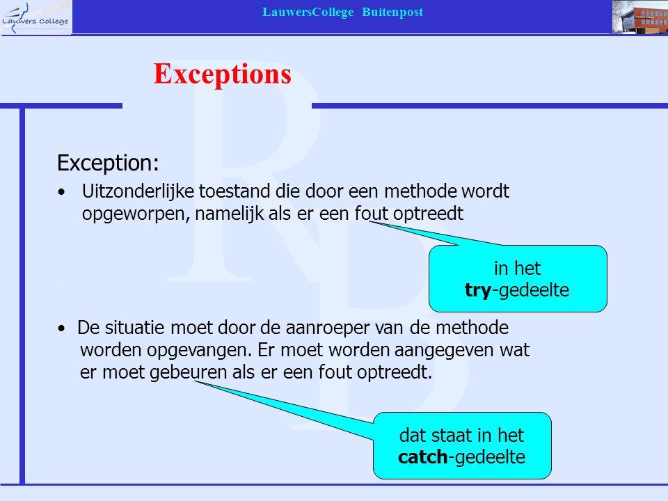 LauwersCollege Buitenpost Exceptions Exception: Uitzonderlijke toestand die door een methode wordt opgeworpen, namelijk als er een fout optreedt dat s