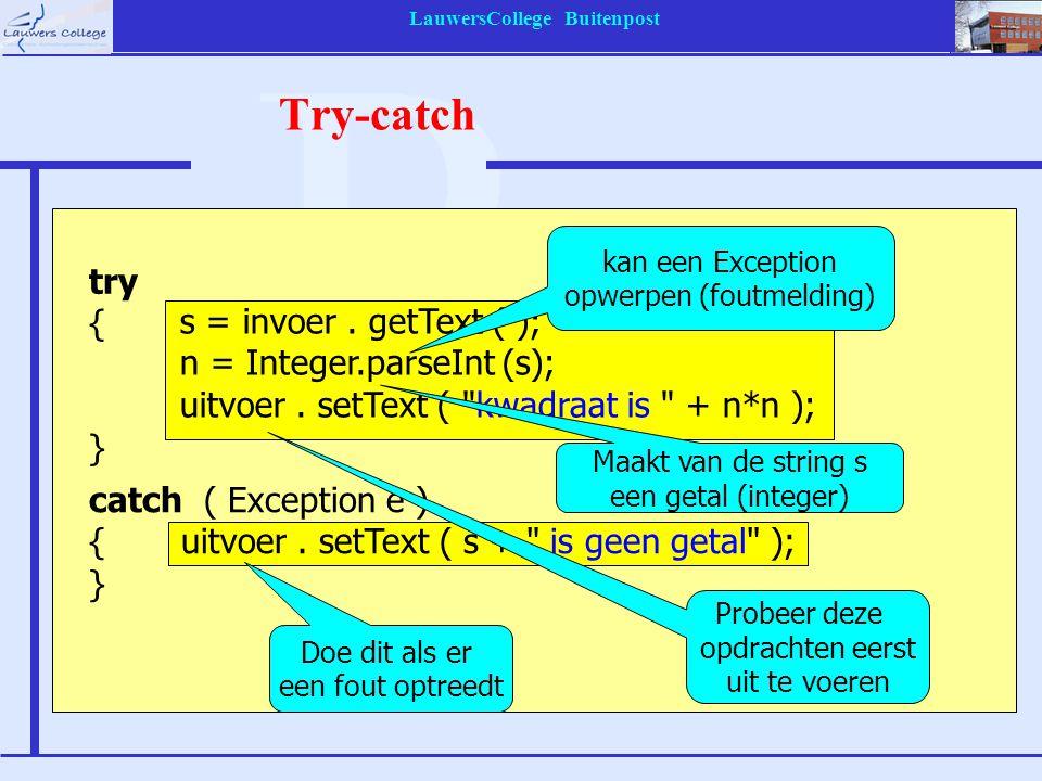 LauwersCollege Buitenpost Try-catch s = invoer. getText ( ); n = Integer.parseInt (s); uitvoer. setText (