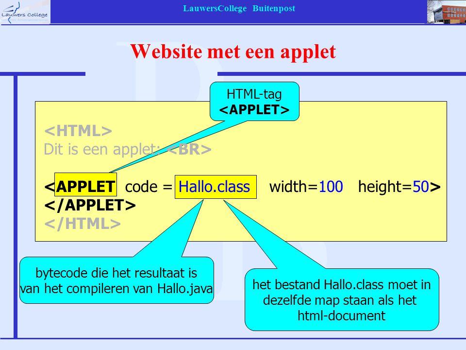 LauwersCollege Buitenpost Website met een applet HTML-tag bytecode die het resultaat is van het compileren van Hallo.java Dit is een applet: het besta
