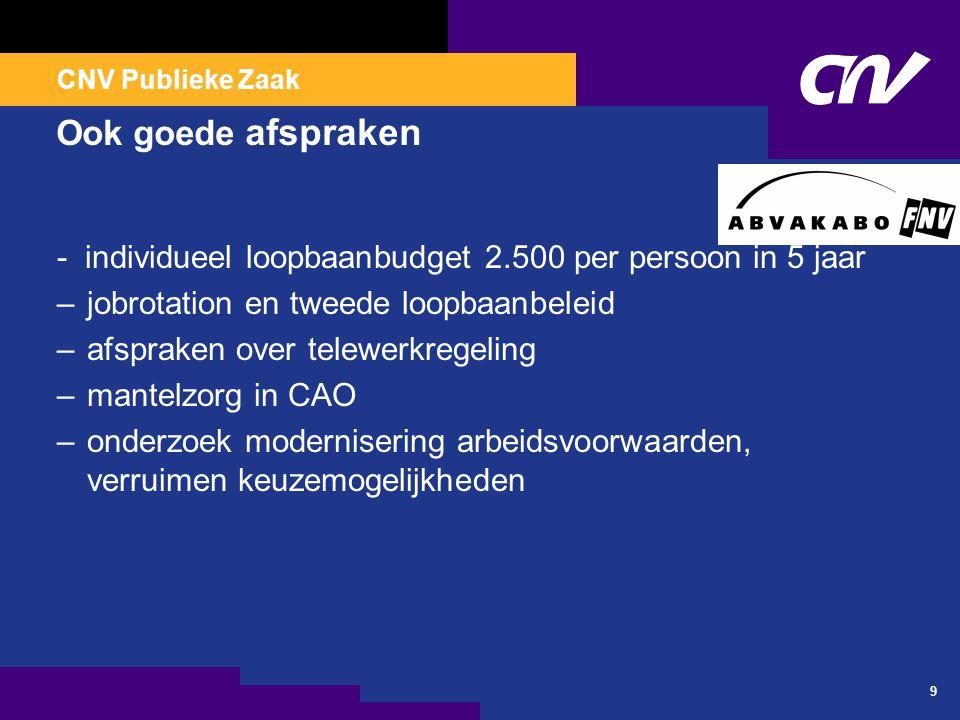 CNV Publieke Zaak 9 Ook goede afspraken - individueel loopbaanbudget 2.500 per persoon in 5 jaar –jobrotation en tweede loopbaanbeleid –afspraken over