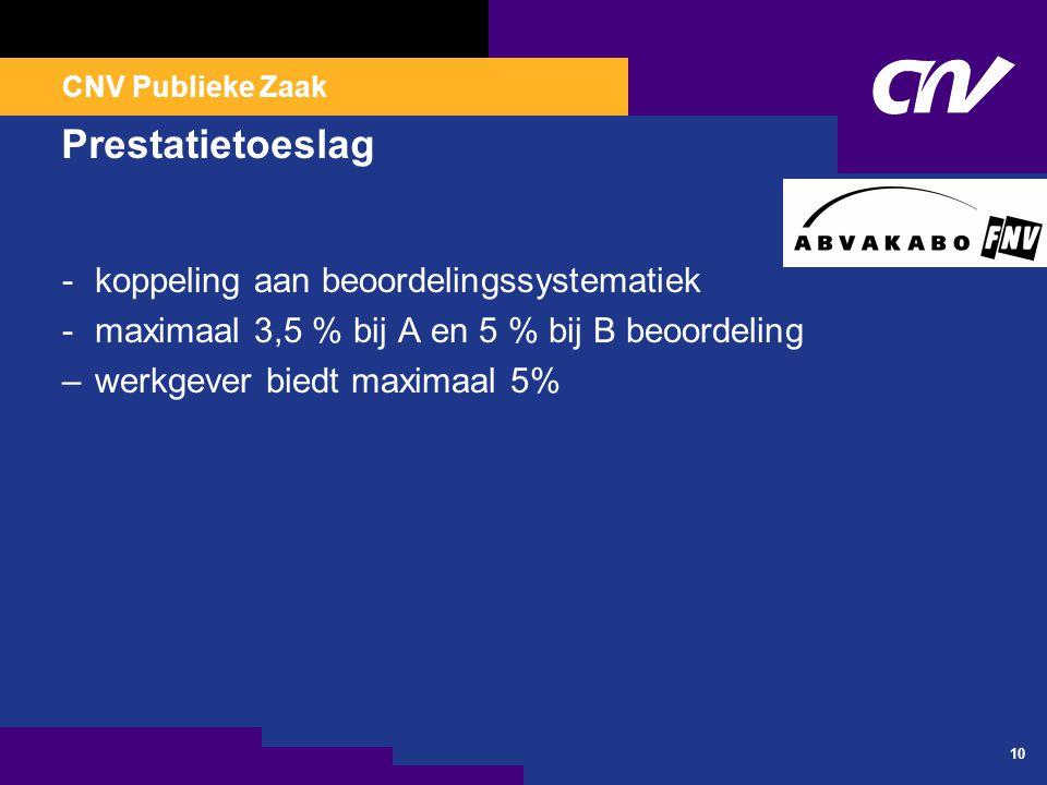 CNV Publieke Zaak 10 Prestatietoeslag -koppeling aan beoordelingssystematiek -maximaal 3,5 % bij A en 5 % bij B beoordeling –werkgever biedt maximaal