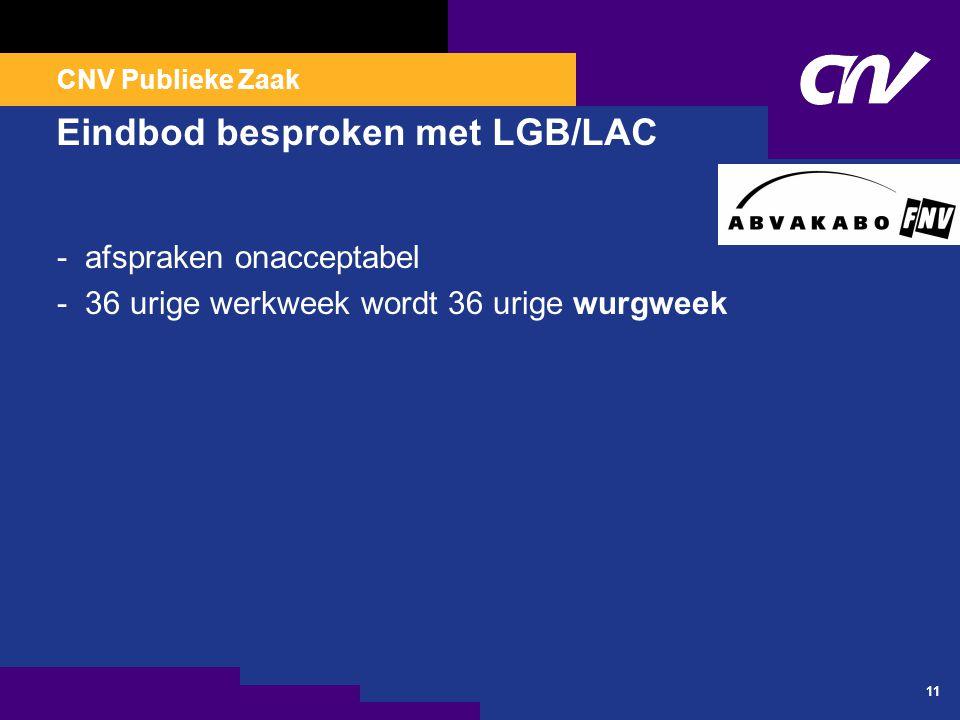 CNV Publieke Zaak 11 Eindbod besproken met LGB/LAC - afspraken onacceptabel - 36 urige werkweek wordt 36 urige wurgweek