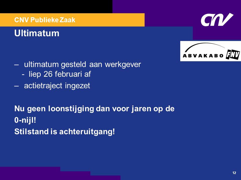 CNV Publieke Zaak 12 Ultimatum – ultimatum gesteld aan werkgever - liep 26 februari af – actietraject ingezet Nu geen loonstijging dan voor jaren op d