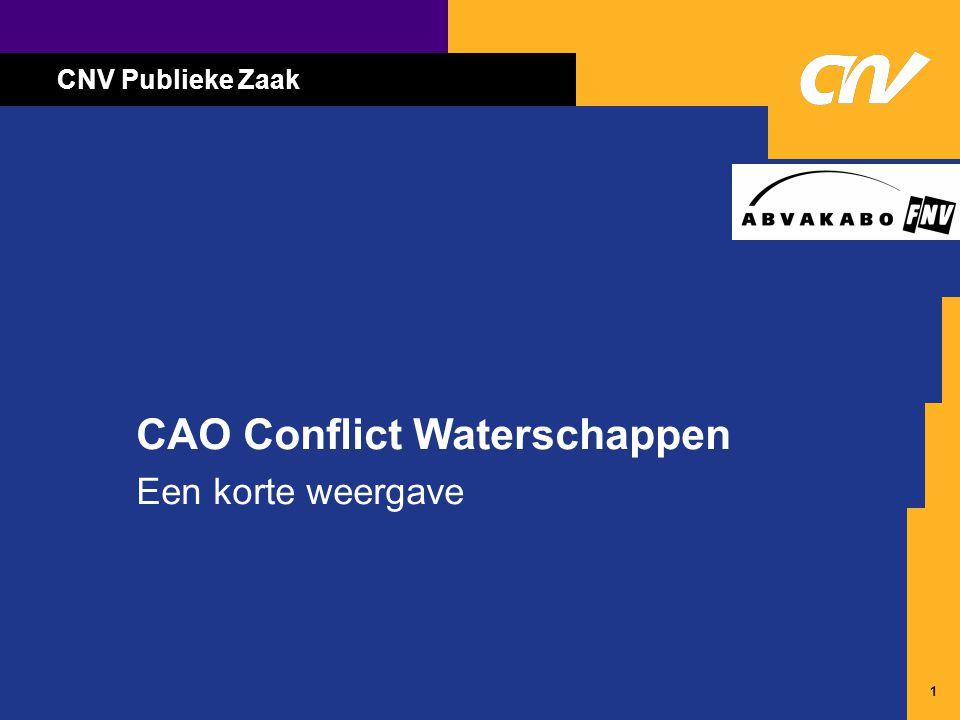 1 CAO Conflict Waterschappen Een korte weergave