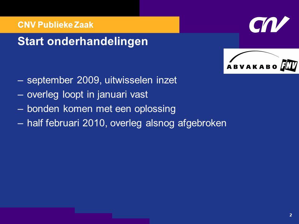CNV Publieke Zaak 2 Start onderhandelingen –september 2009, uitwisselen inzet –overleg loopt in januari vast –bonden komen met een oplossing –half feb