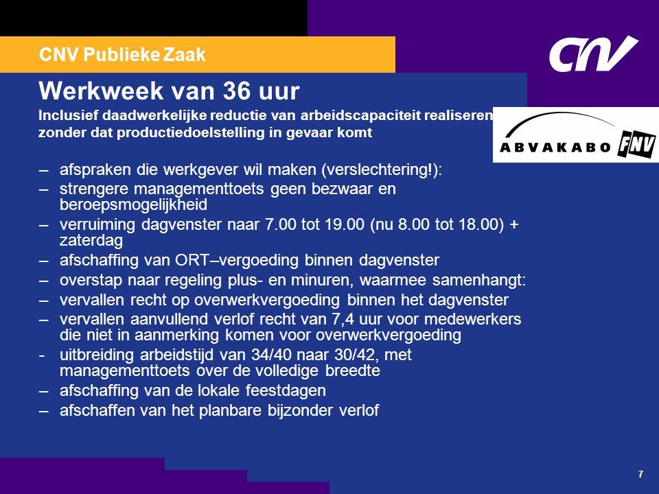 CNV Publieke Zaak 7 Werkweek van 36 uur Inclusief daadwerkelijke reductie van arbeidscapaciteit realiseren, zonder dat productiedoelstelling in gevaar