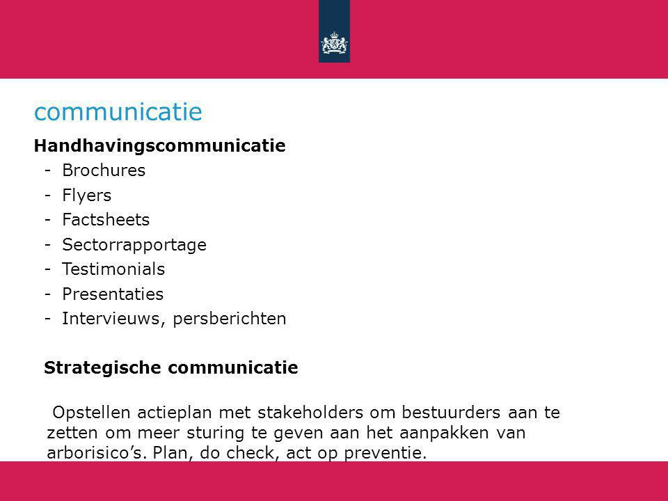 communicatie Handhavingscommunicatie -Brochures -Flyers -Factsheets -Sectorrapportage -Testimonials -Presentaties -Intervieuws, persberichten Strategische communicatie Opstellen actieplan met stakeholders om bestuurders aan te zetten om meer sturing te geven aan het aanpakken van arborisico's.
