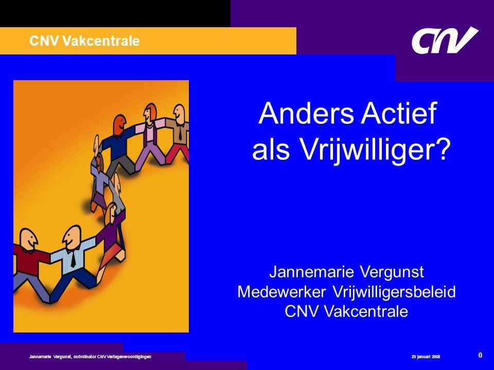 CNV Vakcentrale 29 januari 2008 21 Jannemarie Vergunst, coördinator CNV Vertegenwoordigingen De vrijwilligersorganisatie - Helderheid over tijdsbesteding - Maak duidelijke afspraken - Wie is uw aanspreekpunt.