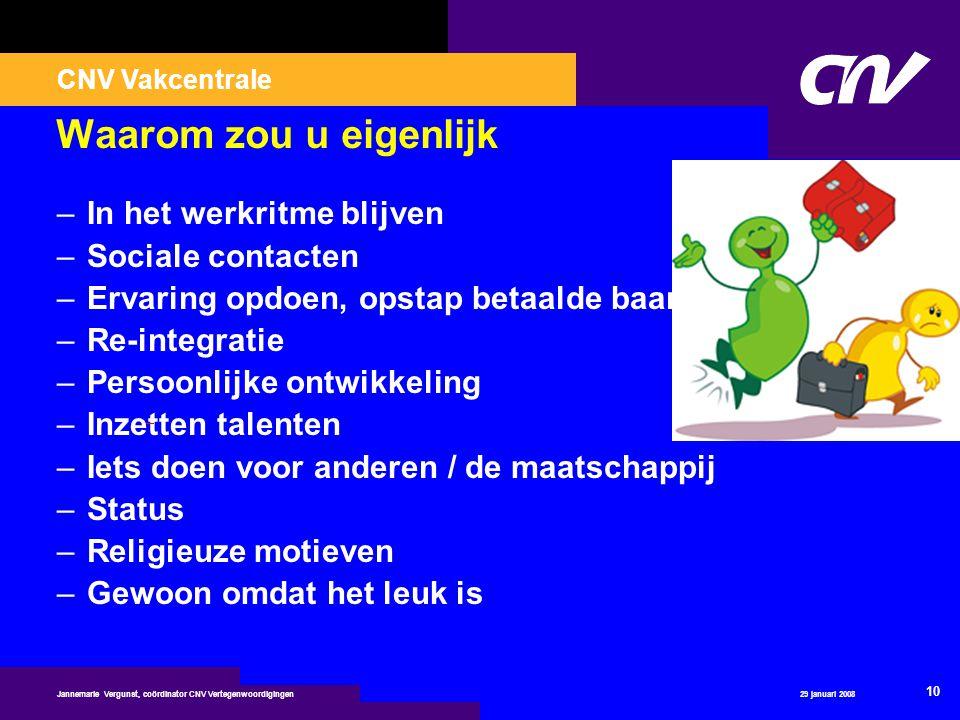 CNV Vakcentrale 29 januari 2008 10 Jannemarie Vergunst, coördinator CNV Vertegenwoordigingen Waarom zou u eigenlijk –In het werkritme blijven –Sociale