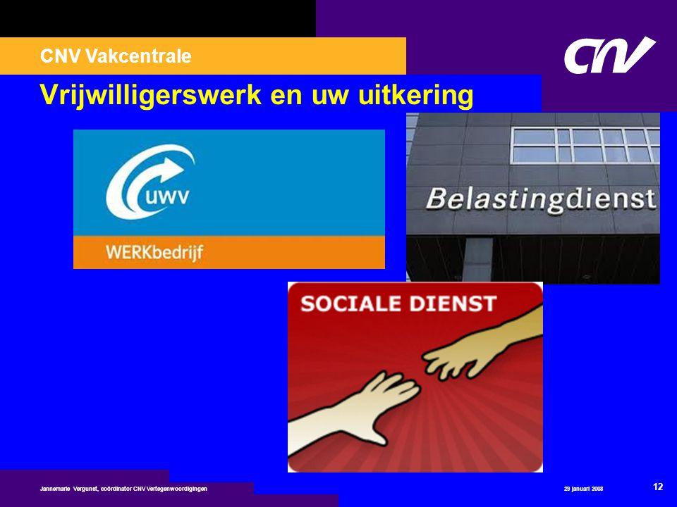 CNV Vakcentrale 29 januari 2008 12 Jannemarie Vergunst, coördinator CNV Vertegenwoordigingen Vrijwilligerswerk en uw uitkering