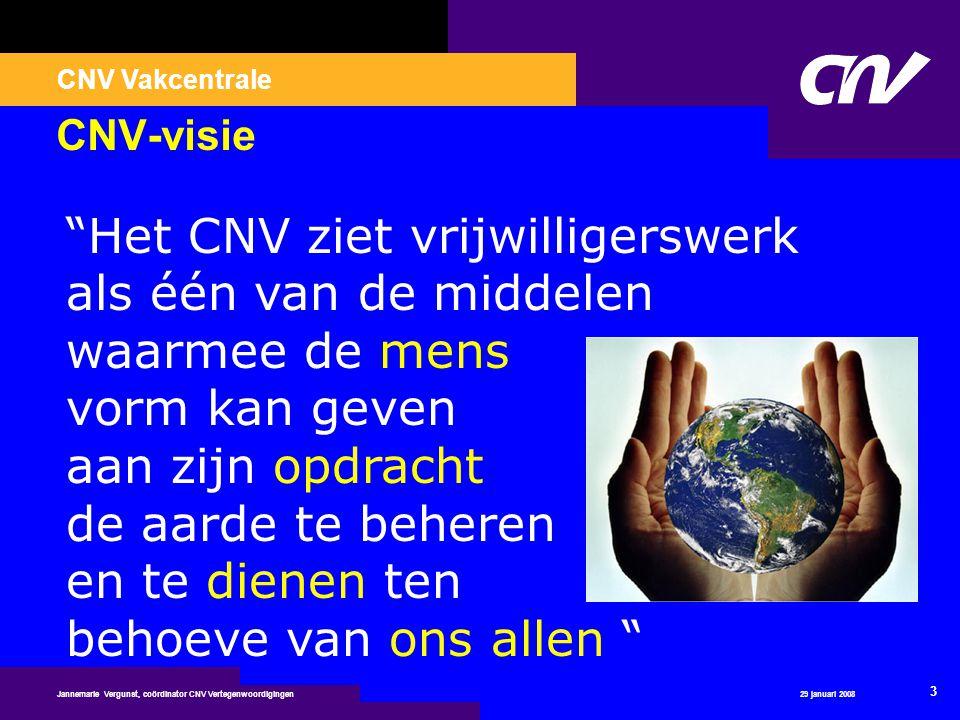 """CNV Vakcentrale 29 januari 2008 3 Jannemarie Vergunst, coördinator CNV Vertegenwoordigingen CNV-visie """"Het CNV ziet vrijwilligerswerk als één van de m"""