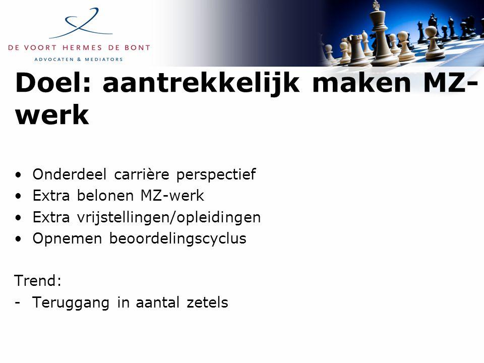 Doel: aantrekkelijk maken MZ- werk Onderdeel carrière perspectief Extra belonen MZ-werk Extra vrijstellingen/opleidingen Opnemen beoordelingscyclus Tr