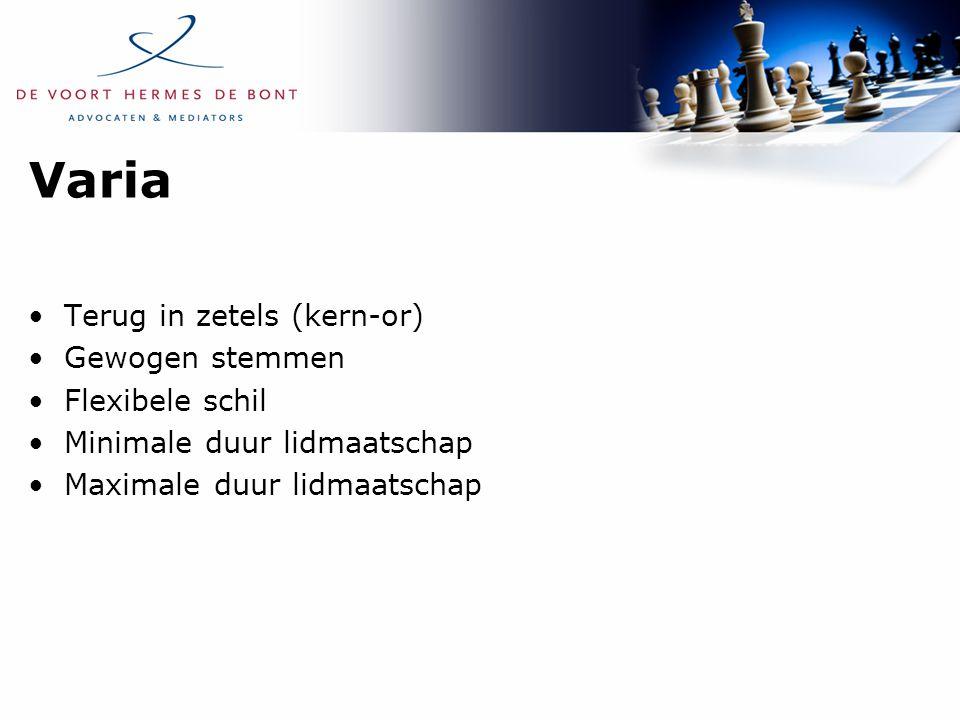 Varia Terug in zetels (kern-or) Gewogen stemmen Flexibele schil Minimale duur lidmaatschap Maximale duur lidmaatschap