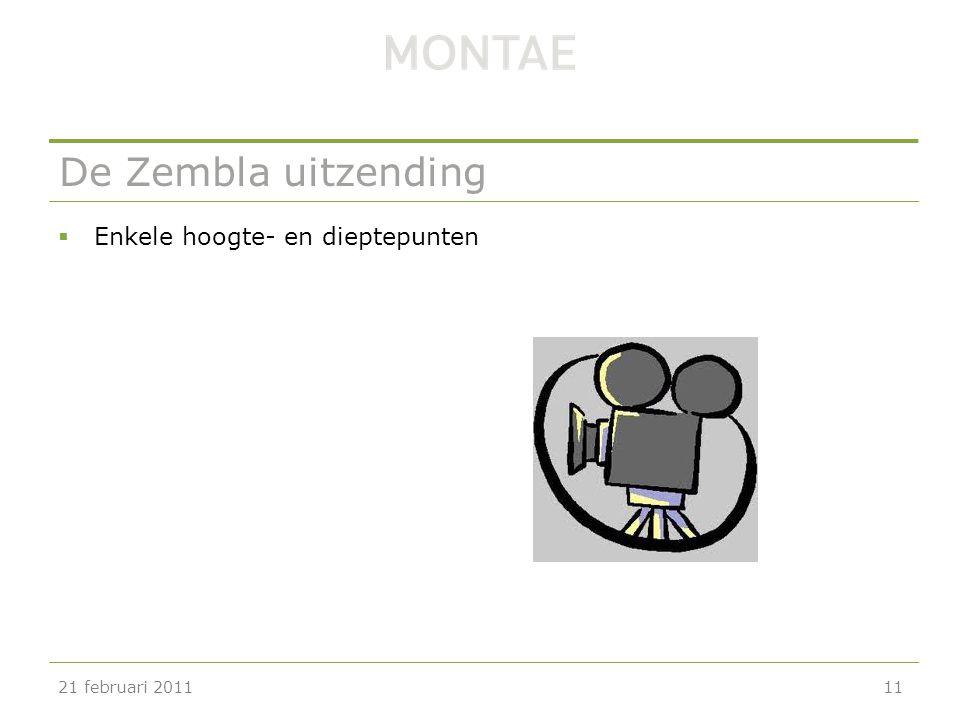 De Zembla uitzending  Enkele hoogte- en dieptepunten 21 februari 201111
