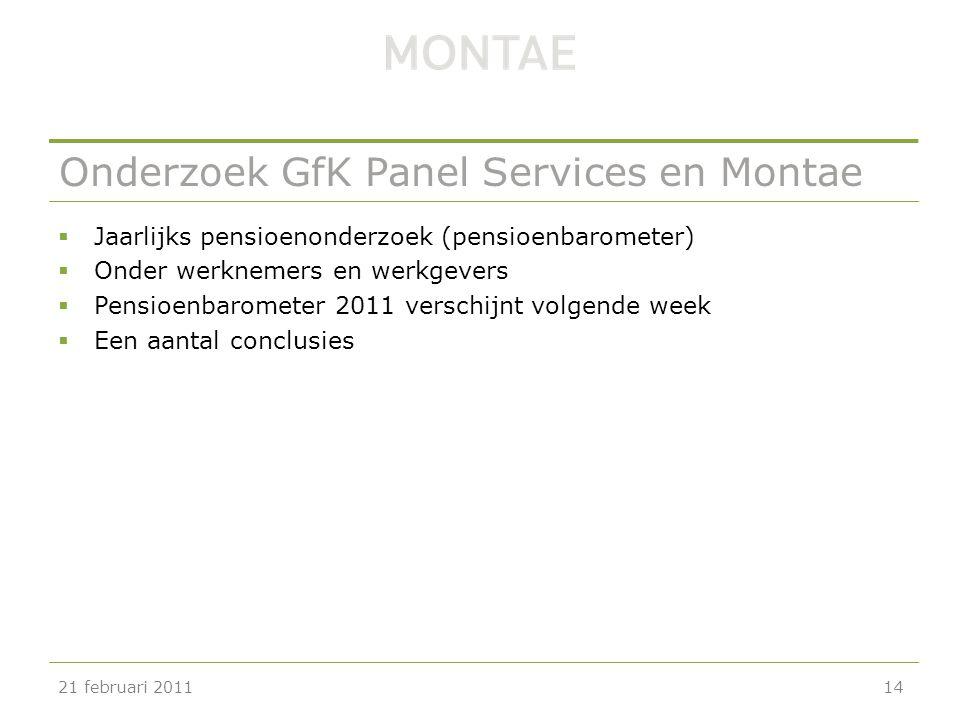 Onderzoek GfK Panel Services en Montae  Jaarlijks pensioenonderzoek (pensioenbarometer)  Onder werknemers en werkgevers  Pensioenbarometer 2011 ver