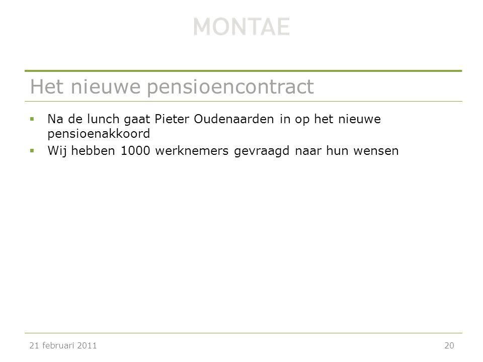 Het nieuwe pensioencontract  Na de lunch gaat Pieter Oudenaarden in op het nieuwe pensioenakkoord  Wij hebben 1000 werknemers gevraagd naar hun wens
