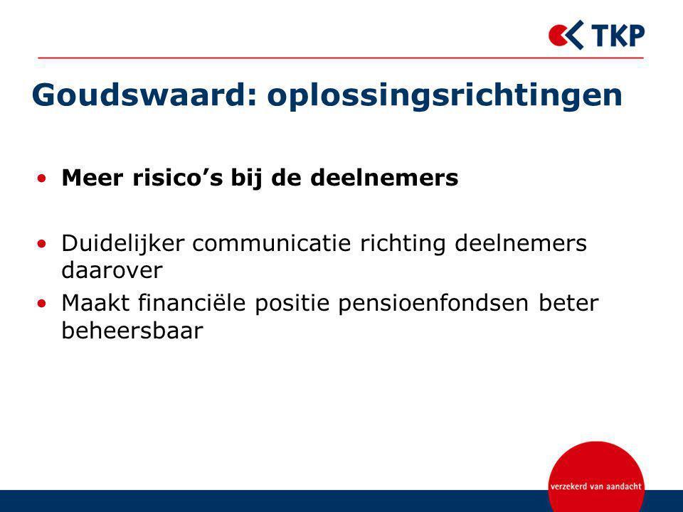 Goudswaard: oplossingsrichtingen Meer risico's bij de deelnemers Duidelijker communicatie richting deelnemers daarover Maakt financiële positie pensioenfondsen beter beheersbaar