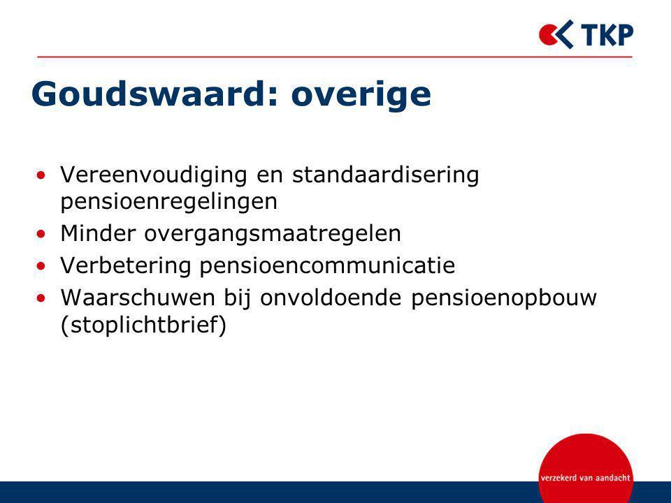 Goudswaard: overige Vereenvoudiging en standaardisering pensioenregelingen Minder overgangsmaatregelen Verbetering pensioencommunicatie Waarschuwen bij onvoldoende pensioenopbouw (stoplichtbrief)